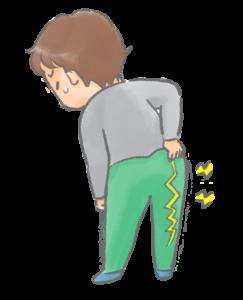 腰痛と脚のしびれがある男性イラスト